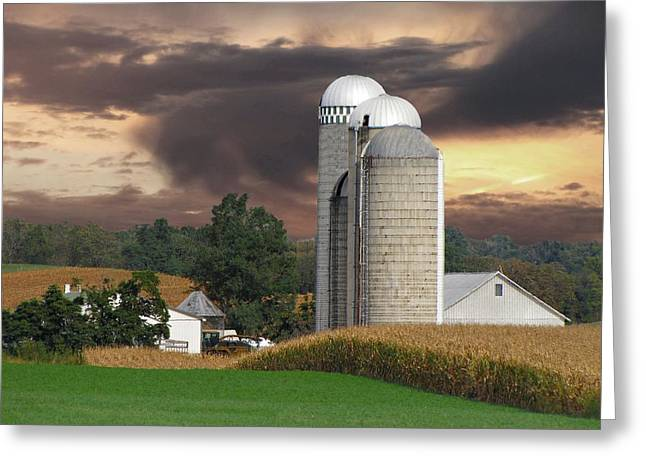 Sunset On The Farm Greeting Card by David Dehner