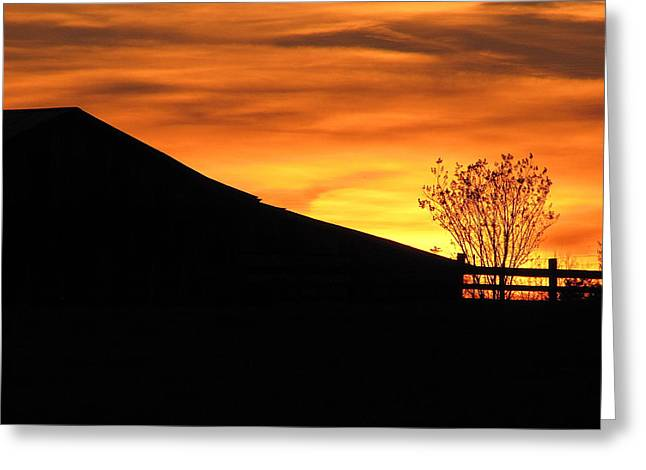 Greg Simmons Greeting Cards - Sunset on the Farm Greeting Card by Greg Simmons