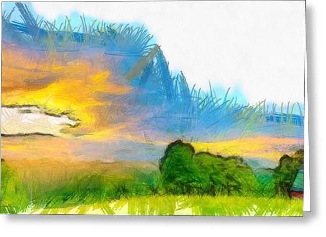 Raining Greeting Cards - Sunset on the Farm Pencil Greeting Card by Edward Fielding