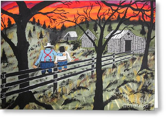 Wife Greeting Cards - Sunset on the fence Greeting Card by Jeffrey Koss