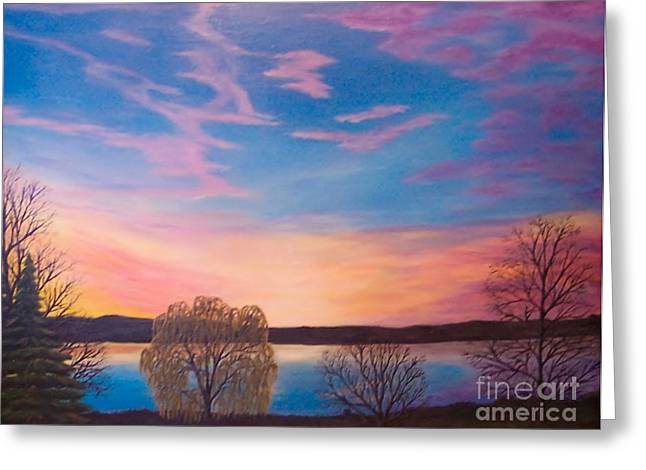 Photograph Of Artist Paintings Greeting Cards - Sunset on the Finger Lakes winter Greeting Card by Carolyn Freligh