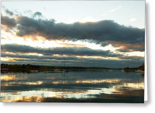 Glenmore Reservoir Greeting Cards - Sunset on the Glenmore reservoir Calgary Alberta Canada Greeting Card by Michael Mckinney