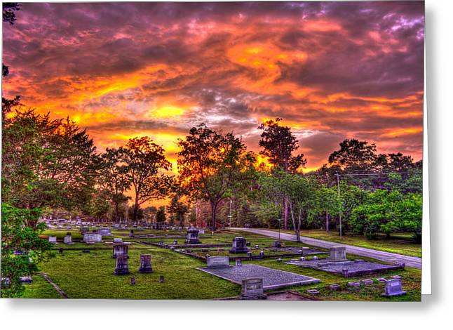 Grave Markers Greeting Cards - Sunset on the Greensboro Cemetery Greeting Card by Reid Callaway