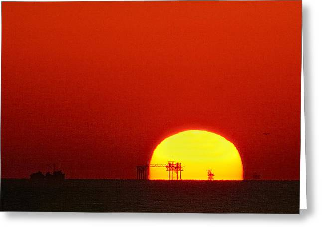 Sea Platform Greeting Cards - Sunset on the Gulf of Mexico Greeting Card by Bradford Martin