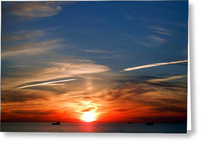Sunset On The Gulf Of Mexico Greeting Card by Debra Martz