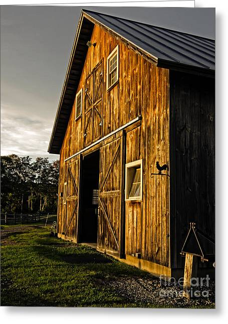 Corral Greeting Cards - Sunset on the Horse Barn Greeting Card by Edward Fielding