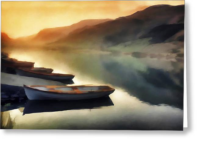 Sunset On The Lake Greeting Card by David Ridley