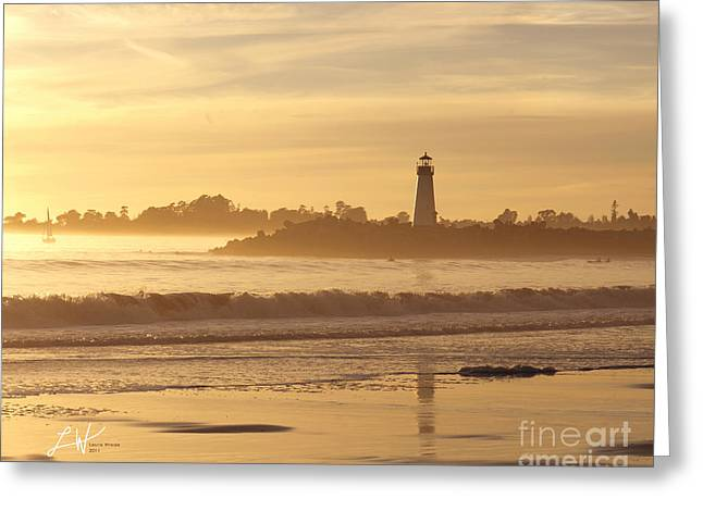 Sunset On The Lighthouse In Santa Cruz Harbor Greeting Card by Artist and Photographer Laura Wrede