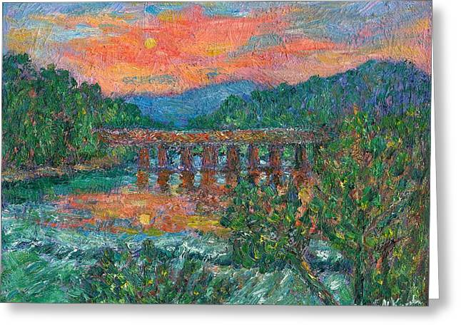 Sunset On The New River Greeting Card by Kendall Kessler