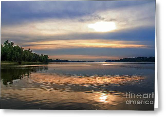 Water In Caves Greeting Cards - Sunset on the Ohio River II Greeting Card by Warrena J Barnerd