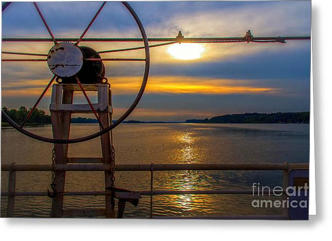 Water In Caves Greeting Cards - Sunset on the Ohio River IV Greeting Card by Warrena J Barnerd