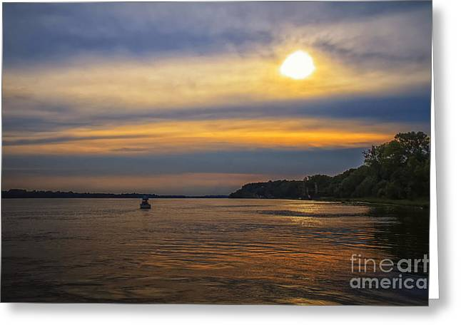 Water In Caves Greeting Cards - Sunset on the Ohio River Greeting Card by Warrena J Barnerd