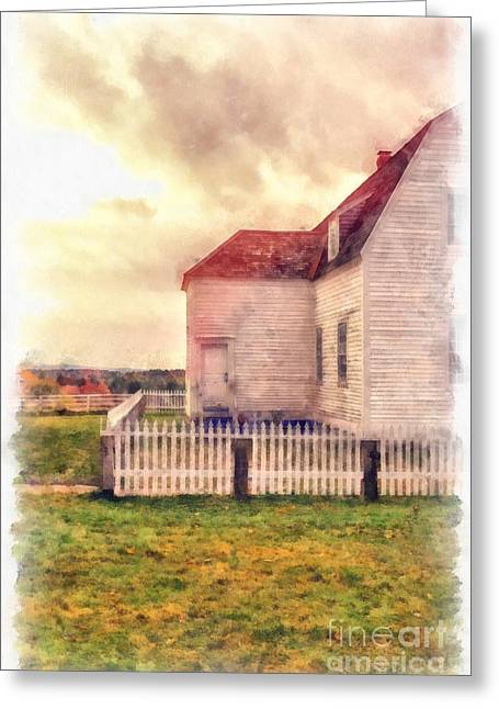 Vermont Village Greeting Cards - Sunset on the old farm house Greeting Card by Edward Fielding