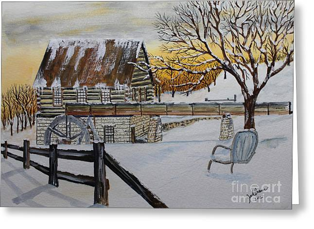 Sunset On The Old Mill Greeting Card by Jack G  Brauer
