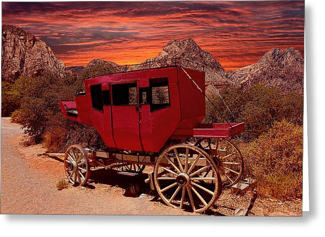 Old West Postcards Greeting Cards - Sunset On The Old West Greeting Card by Lanis Rossi