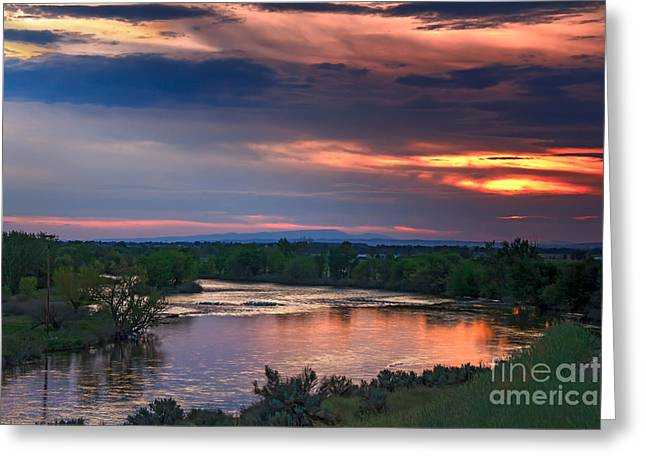 Sunset On The Payette  River Greeting Card by Robert Bales