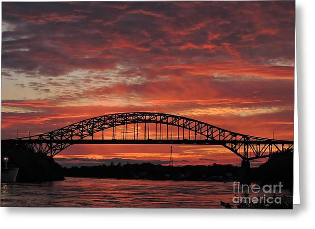 City Lights Greeting Cards - Sunset On The Piscataqua River Greeting Card by Marcia Lee Jones