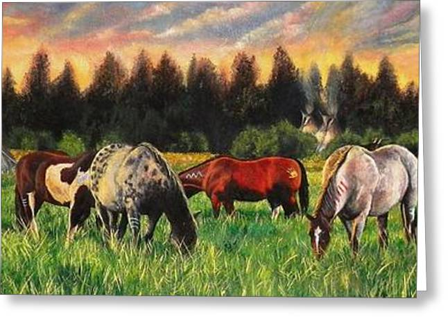 Quarter Horses Greeting Cards - Sunset on the Plains Greeting Card by Amanda  Stewart