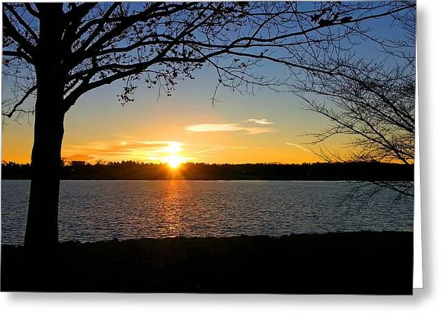 Sunset Framed Prints Digital Greeting Cards - Sunset On The Potomac Greeting Card by Emmy Marie Vickers