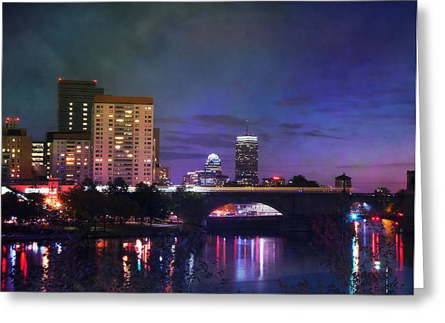 Paul Revere Greeting Cards - Sunset on the Prudential Center - Boston Greeting Card by Joann Vitali