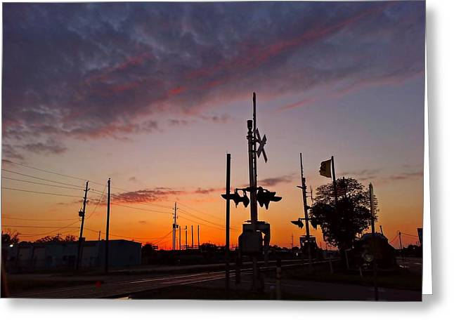 Rr Greeting Cards - Sunset on the Railroad Tracks Greeting Card by Linda Unger