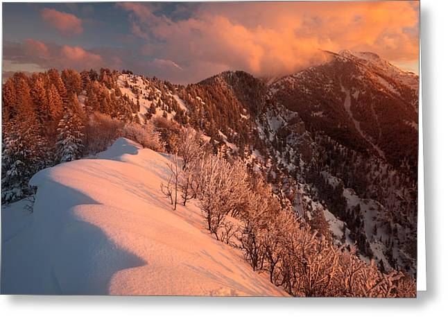 Snow Drifts Greeting Cards - Sunset on the Ridgeline Greeting Card by Rory Wallwork