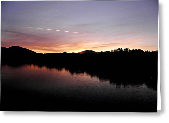 Turtle Pyrography Greeting Cards - Sunset on the River Greeting Card by Andrew  Stoffel