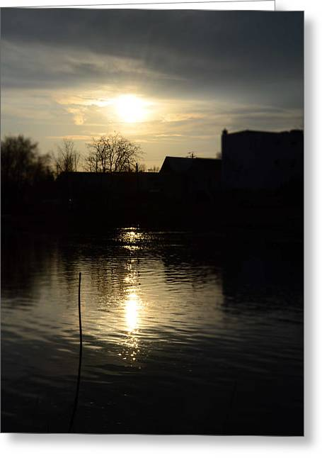 Sunset On The River Greeting Card by Samantha Morris