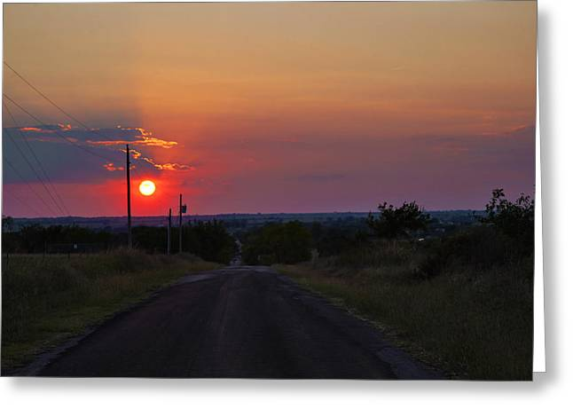 Rural Southern Oklahoma Greeting Cards - Sunset on the road heading west Greeting Card by Toni Hopper