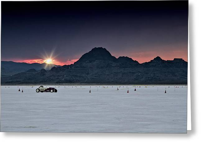 Custom Automobile Greeting Cards - Sunset on the Salt Bonneville 2012 Greeting Card by Holly Martin