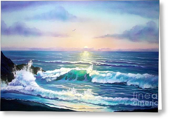 On The Beach Greeting Cards - Sunset on the Sea Greeting Card by Jerry Bokowski
