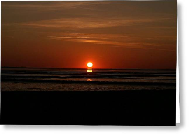 North Sea Pyrography Greeting Cards - Sunset On The Sea Greeting Card by John Vito Figorito
