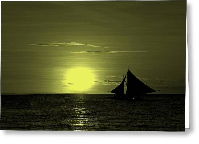 Sunset On The Sea Greeting Card by Movie Poster Prints