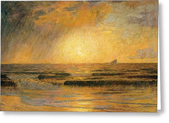 Menard Greeting Cards - Sunset on the sea Greeting Card by Rene Menard