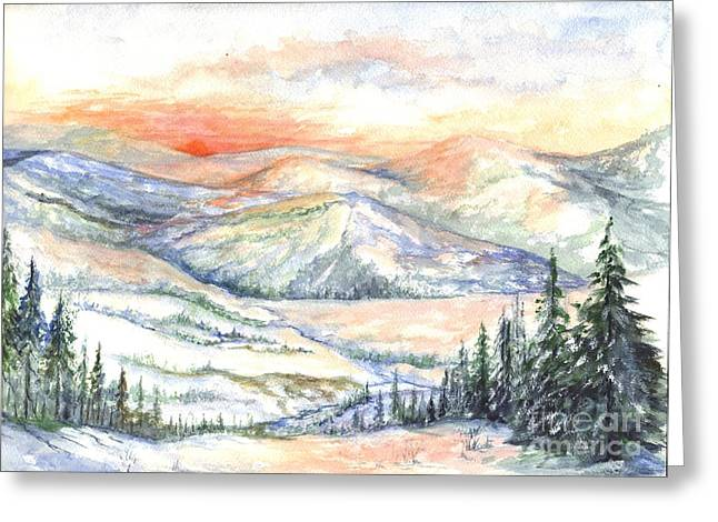Sunset Greeting Cards Drawings Greeting Cards - Sunset On The Slopes Greeting Card by Carol Wisniewski