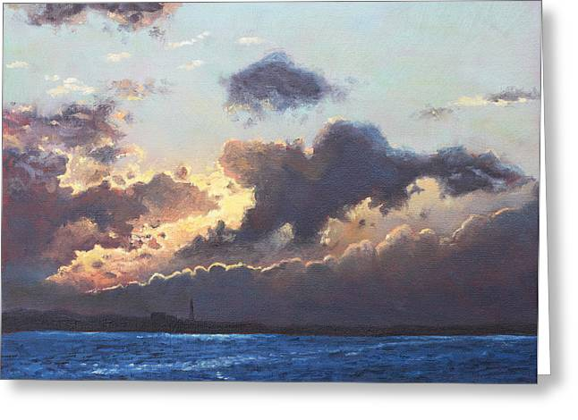 Southampton Paintings Greeting Cards - Sunset on the Solent Greeting Card by Martin Davey