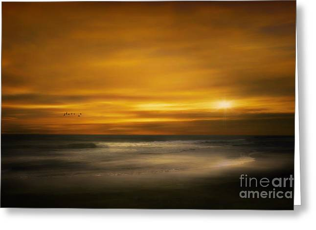York Beach Greeting Cards - Sunset On The Surf Greeting Card by Tom York Images