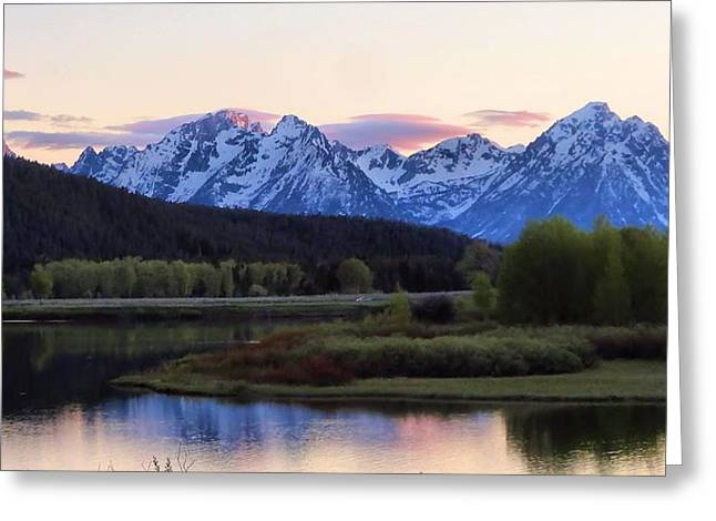 Snow On Barn Greeting Cards - Sunset On The Tetons Greeting Card by Dan Sproul