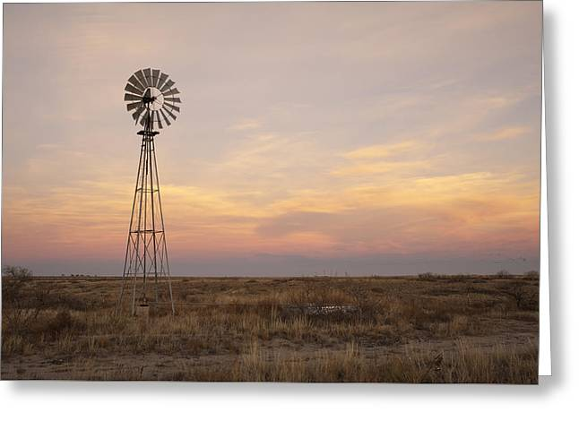 Windmills Greeting Cards - Sunset on the Texas Plains Greeting Card by Melany Sarafis