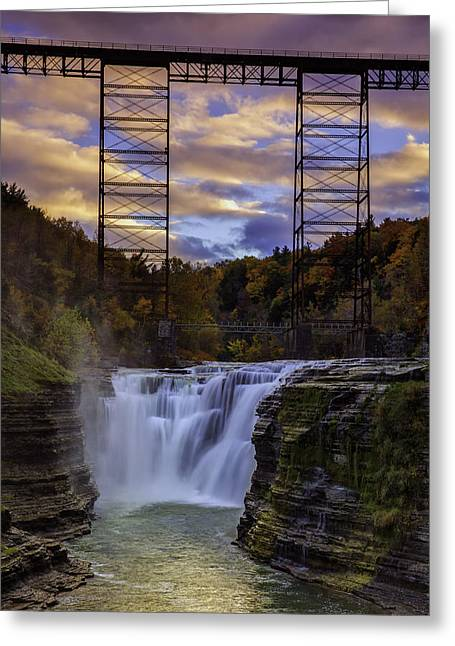 Shale Greeting Cards - Sunset On The Upper Falls Greeting Card by Rick Berk