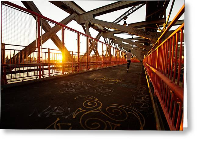 Williamsburg Greeting Cards - Sunset on the Williamsburg Bridge - New York City Greeting Card by Vivienne Gucwa
