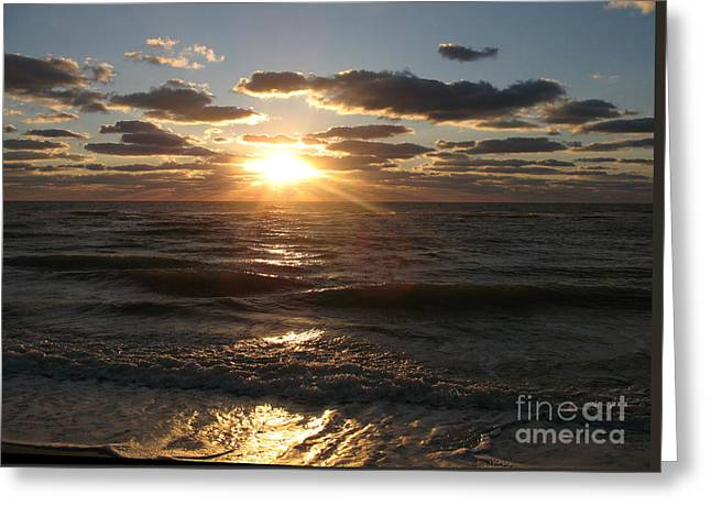 Sunset On Venice Beach  Greeting Card by Christiane Schulze Art And Photography