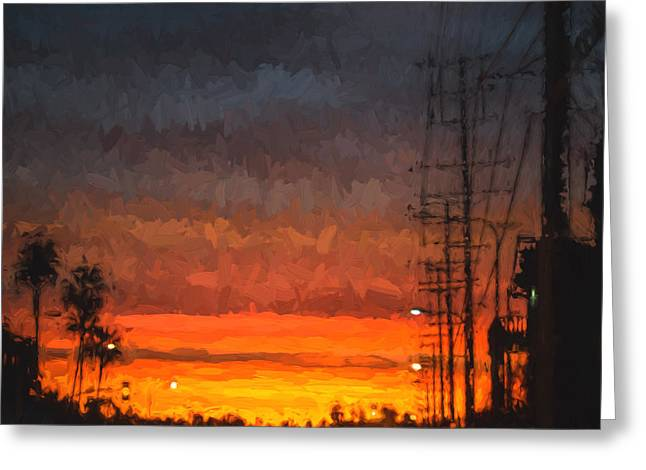 Ike Krieger Greeting Cards - Sunset on Ventura Boulevard Greeting Card by Ike Krieger