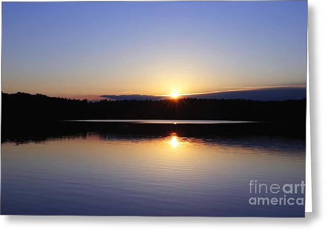 Sunset On Walden Pond Greeting Card by John Greim