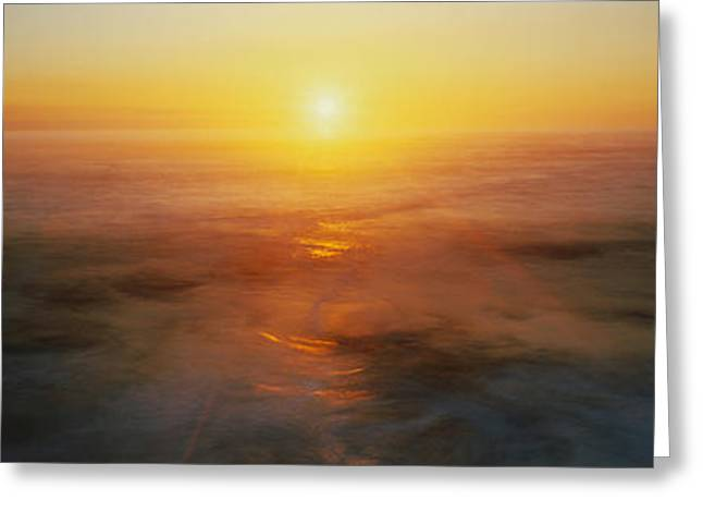 Mysterious Sunset Greeting Cards - Sunset Or Usa Greeting Card by Panoramic Images
