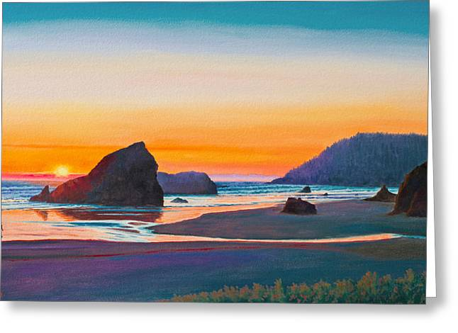 Sunset Seascape Paintings Greeting Cards - Sunset - Oregon Coast Greeting Card by Paul Krapf