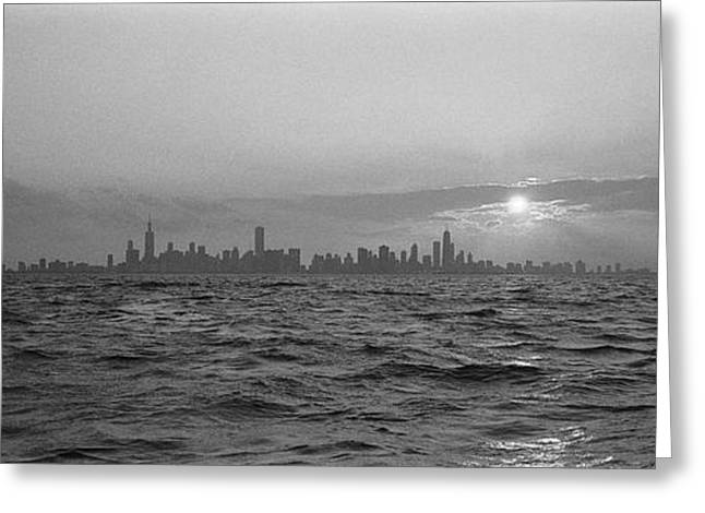 Grainy Greeting Cards - Sunset Over A City, Chicago, Illinois Greeting Card by Panoramic Images