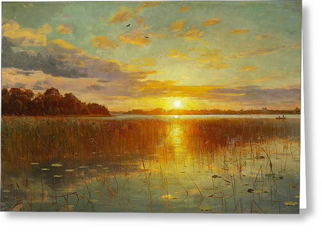 Monsted Greeting Cards - Sunset over a Danish Fjord Greeting Card by Peder Mork Monsted