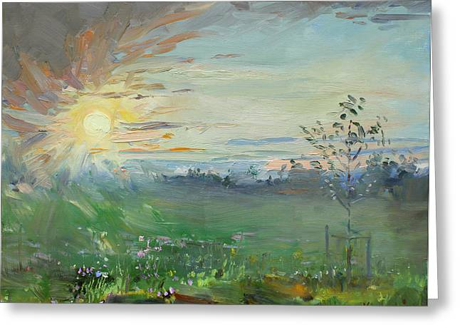 Field Of Flowers Greeting Cards - Sunset over a Field of Wild Flowers Greeting Card by Ylli Haruni