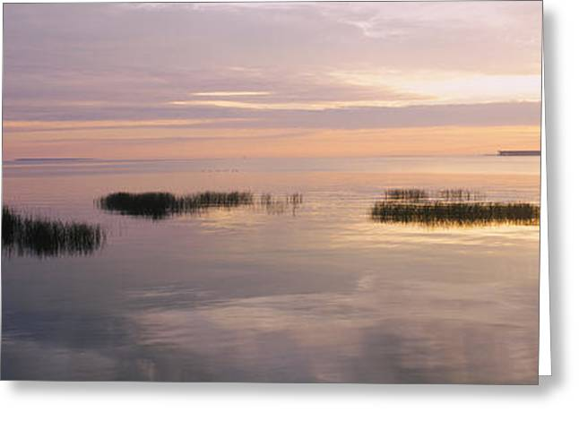 Midwest Scenes Greeting Cards - Sunset Over A Lake, Chequamegon Bay Greeting Card by Panoramic Images